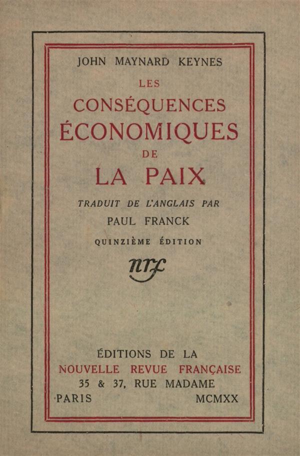 Les consequences economiques de la paix