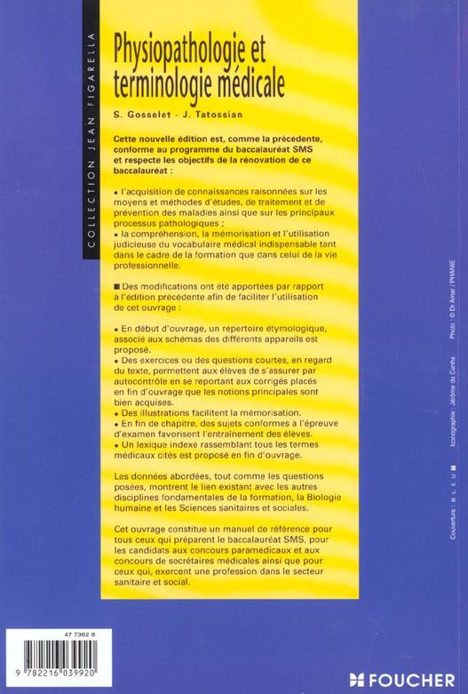 Physiopathologie Et Terminologie Medicale Sms Solange Gosselet Jeanne Tatossian Foucher Grand Format Librairies Autrement