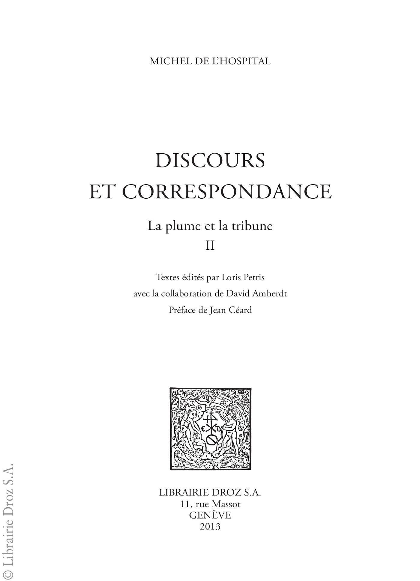 Discours et correspondance ; la plume et la tribune t.2