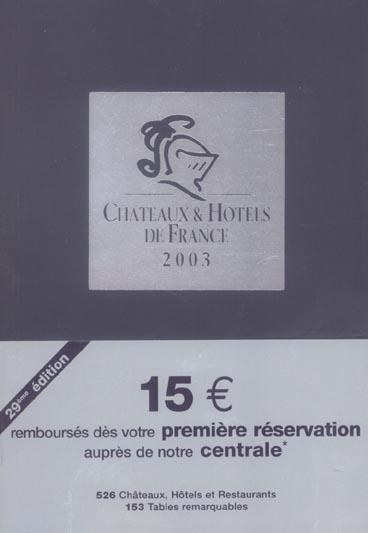 Guide chateaux et hotels de france 2003