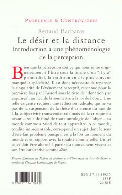 Le désir et la distance ; introduction à une phénoménologie de la perception