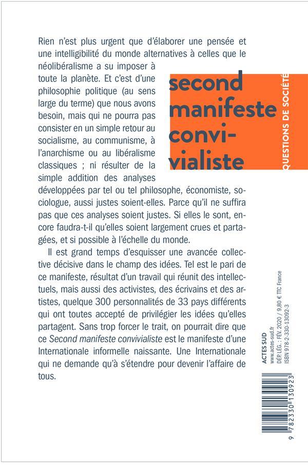 Second manifeste convivialiste ; pour un monde post-néolibéral