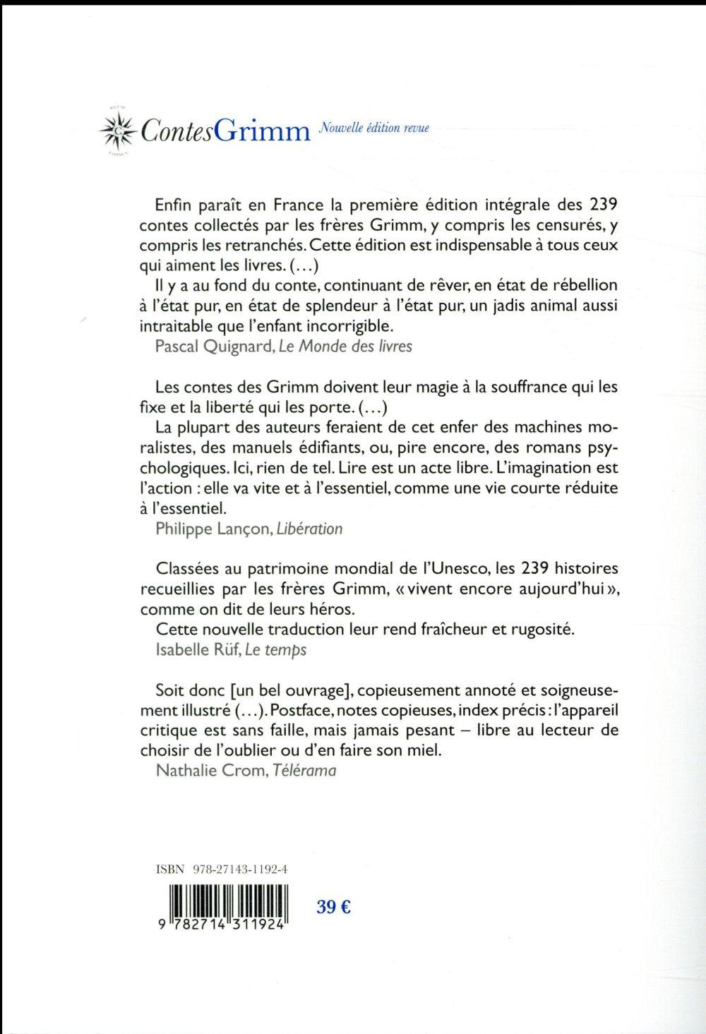 Contes de Grimm (en 1 volume)