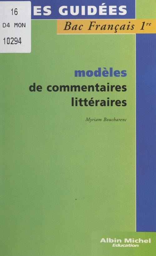 Modèles de commentaires littéraires