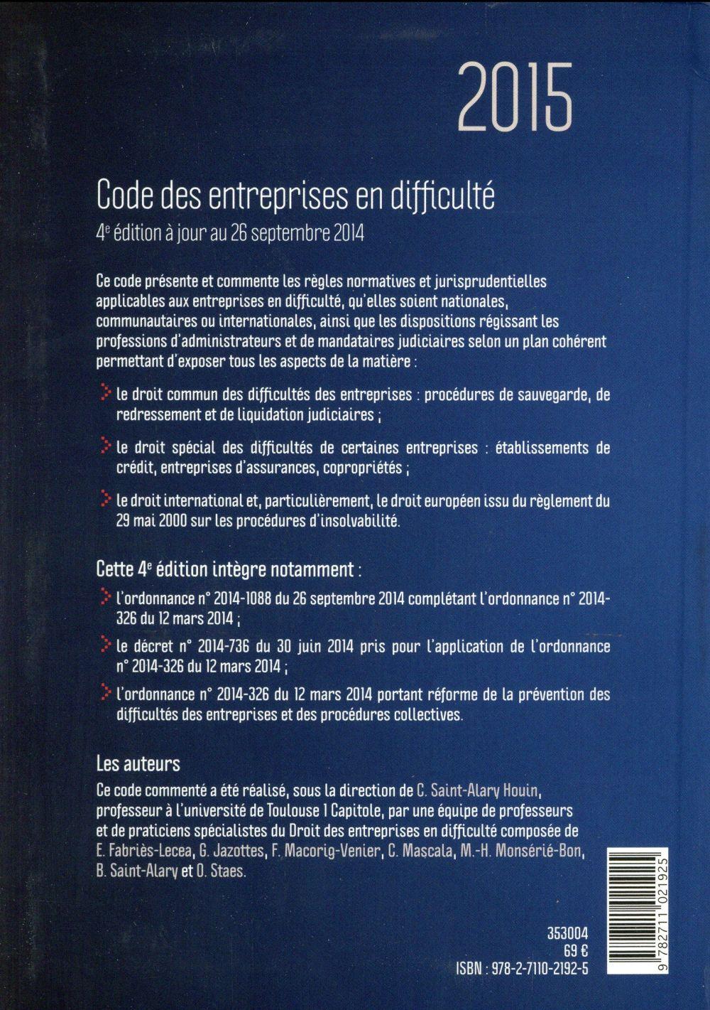 Code des entreprises en difficultés (édition 2015)