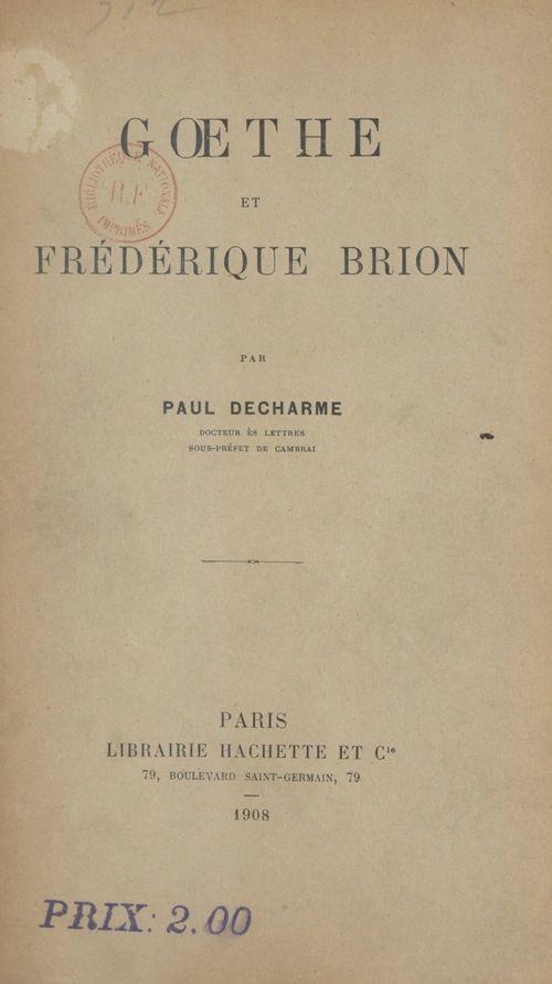 Goethe et Frédérique Brion  - Paul Decharme