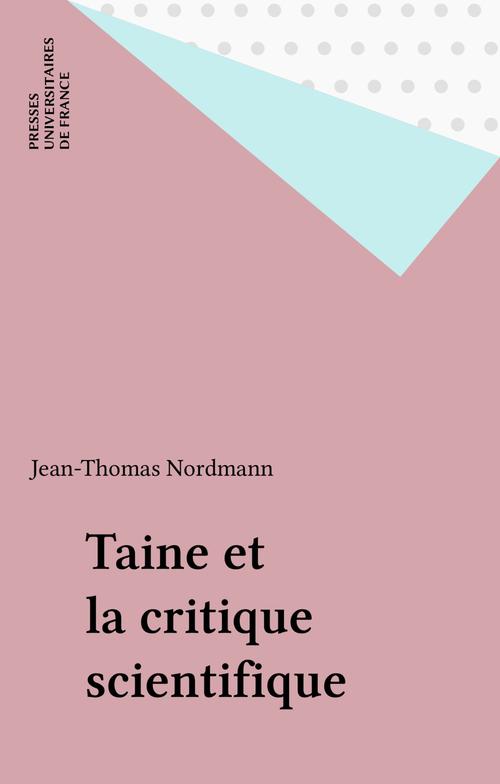 Taine et la critique scientifique