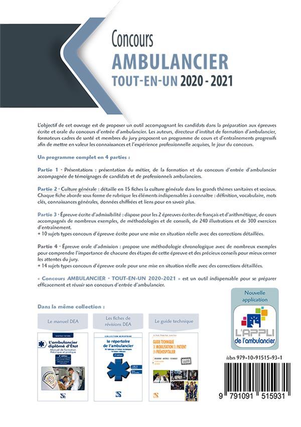 Concours ambulancier ; épreuves écrite et orale ;  tout-en-un ; préparation et entraînement complets (édition 2020/2021)
