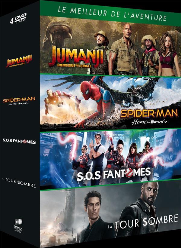 Le Meilleur de l'aventure - Coffret : Jumanji : Bienvenue dans la jungle + Spider-Man : Homecoming + SOS Fantômes + La Tour Sombre