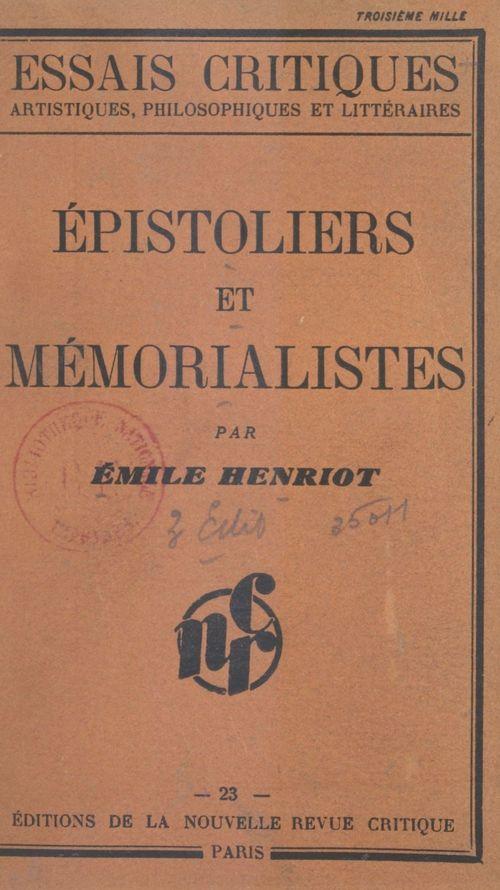 Épistoliers et mémorialistes