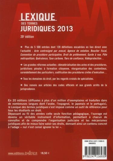 lexique des termes juridiques (édition 2013)