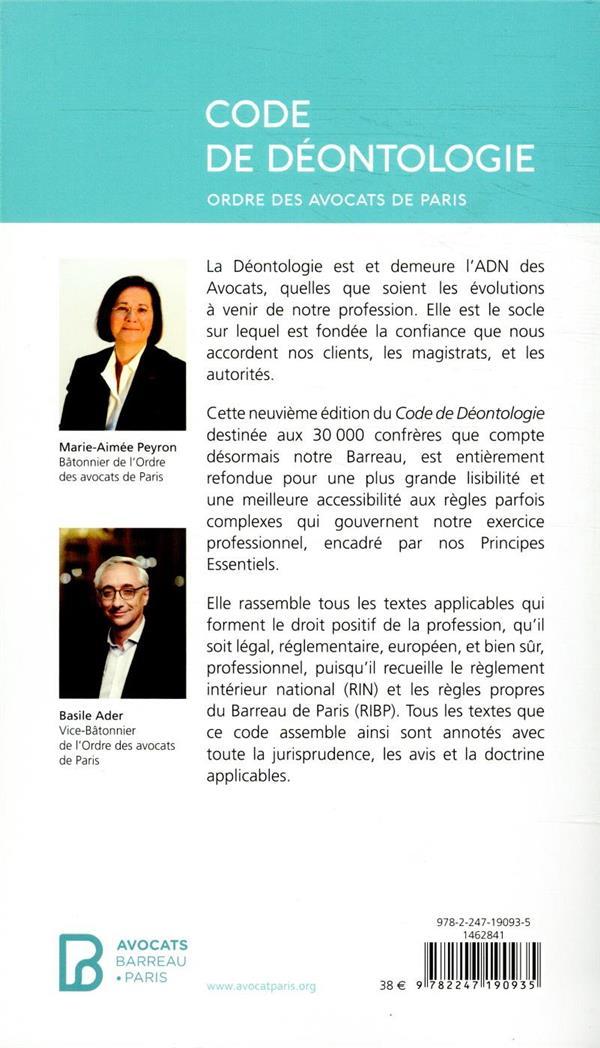 Code de déontologie de l'ordre des avocats de Paris (édition 2020)