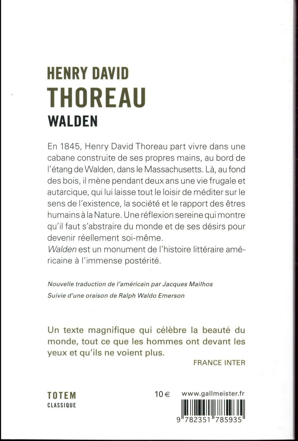 Walden ; nouvelle traduction de Jacques Mailhos
