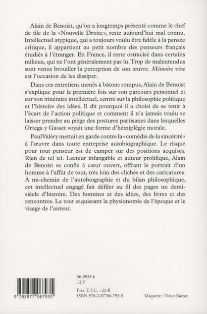 Mémoire vive ; entretiens avec François Bousquet