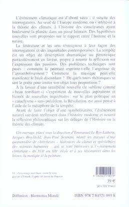 L'évènement climatique et ses représentations, xvii-xix siècle ; histoire, littérature, musique et peinture