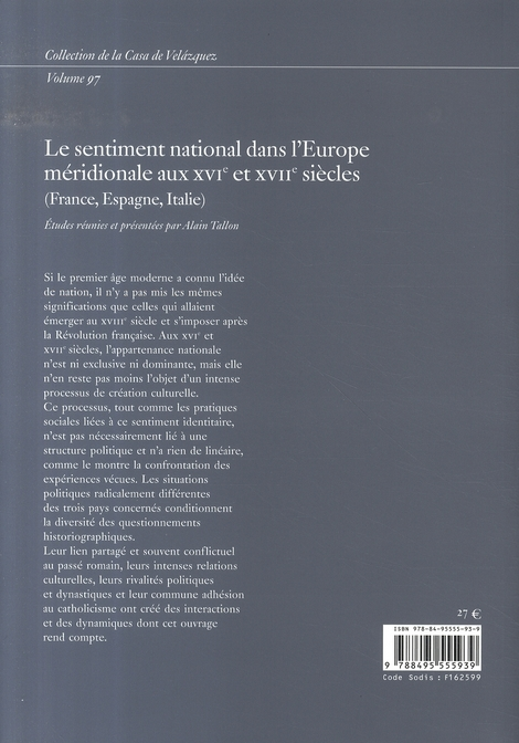 Le sentiment national dans l'europe méridionale aux xvi et xvii siècles