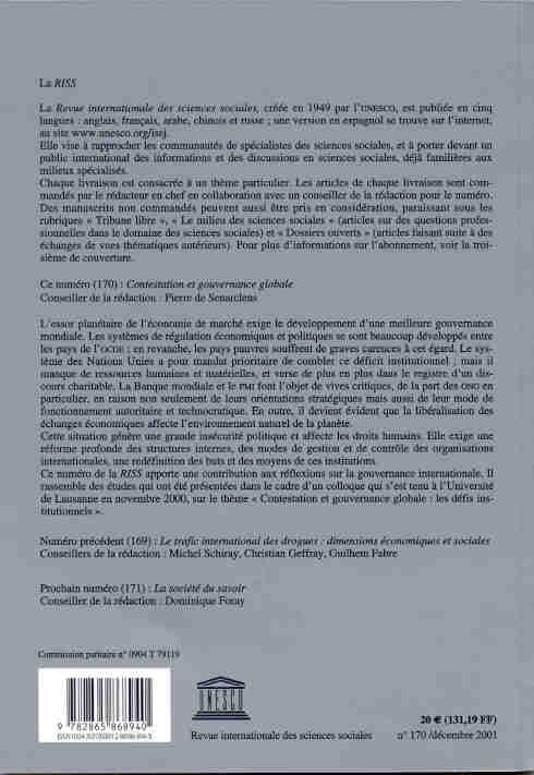 Revue internationale des sciences sociales t.170 ; contestation et gouvernance globale