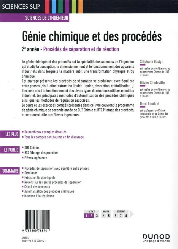 Génie chimique et des procédés ; 2e année ; procédés de séparation et de réaction