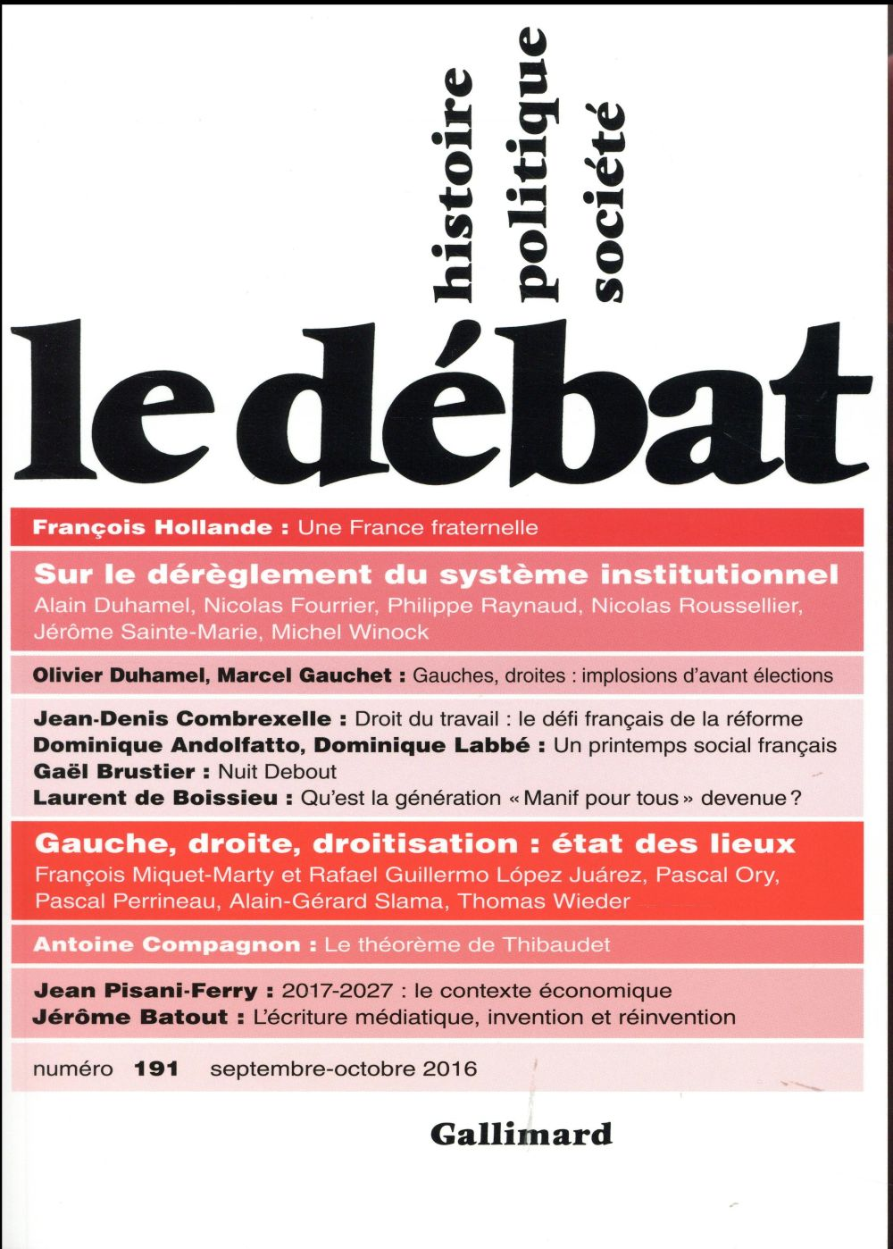 Revue le debat ; septembre 2016