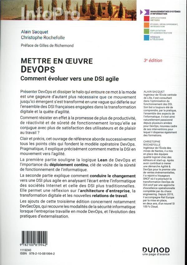 Mettre en oeuvre DevOps ; comment évoluer vers une DSI agile (3e édition)