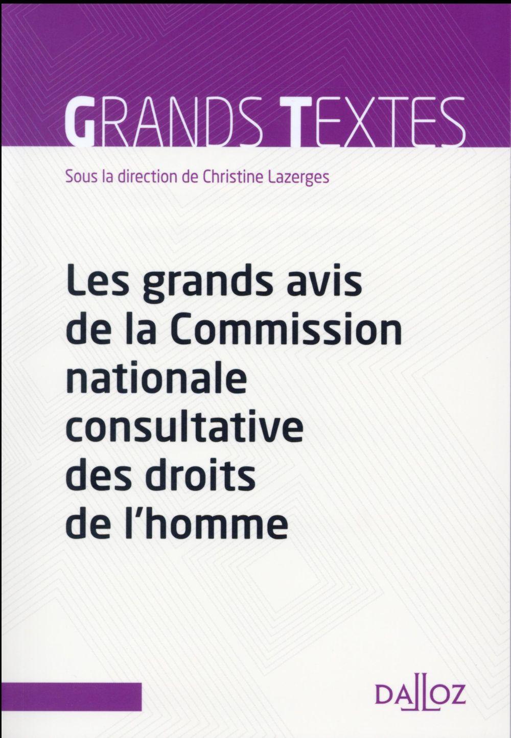 Les grands avis de la Comission nationale consultative des DDH