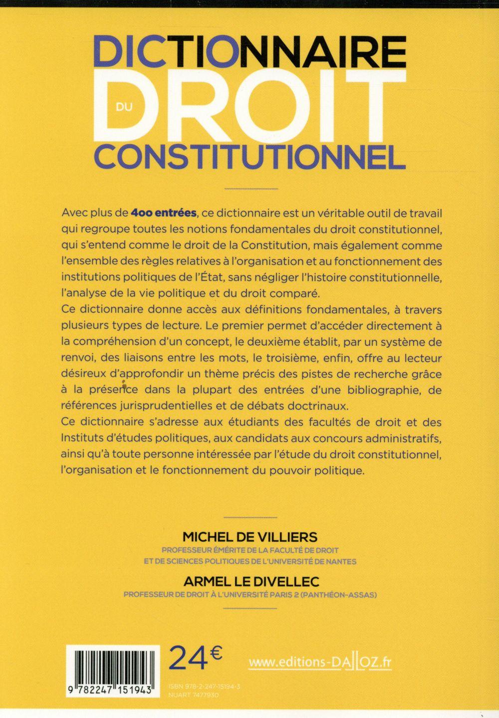 Dictionnaire du droit constitutionnel (10e édition)