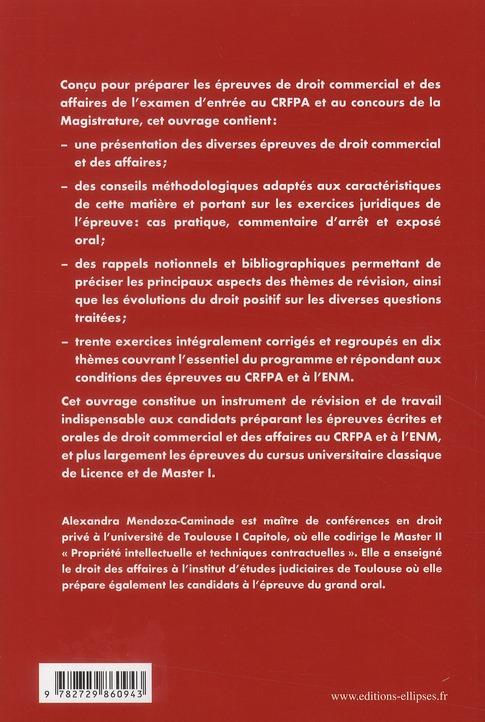 Les épreuves de droit commercial & des affaires au CRFPA et à l'ENM