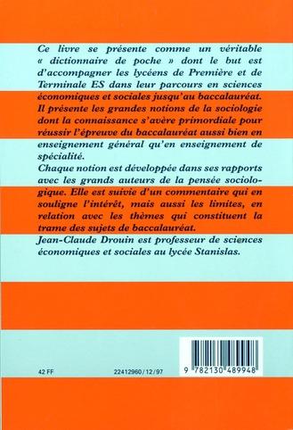 Dictionnaire de poche ; les grandes notions de la sociologie