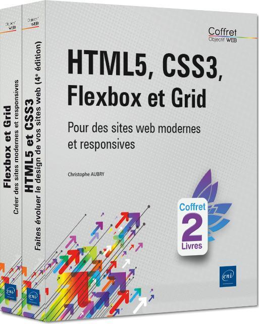 Hmtl5, css3, flexbox et grid - coffret de 2 livres : pour des sites web modernes et responsives
