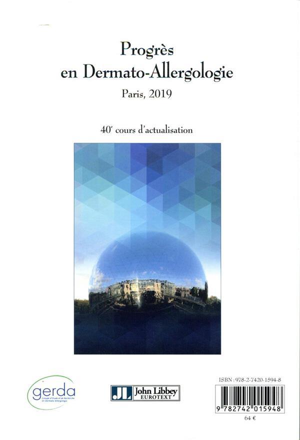 Progrès en dermato-allergologie ; Paris, 2019, 40e cours d'actualisation