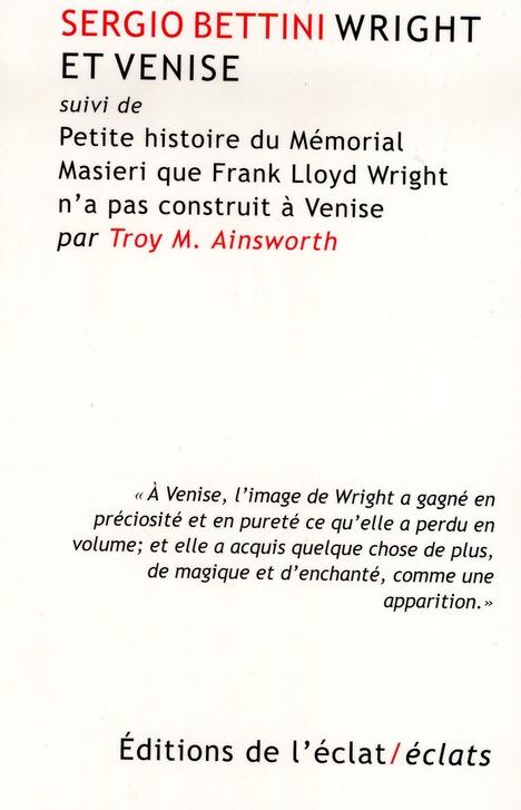 Frank Lloyd Wright et Venise
