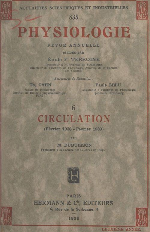 Circulation : février 1938-février 1939
