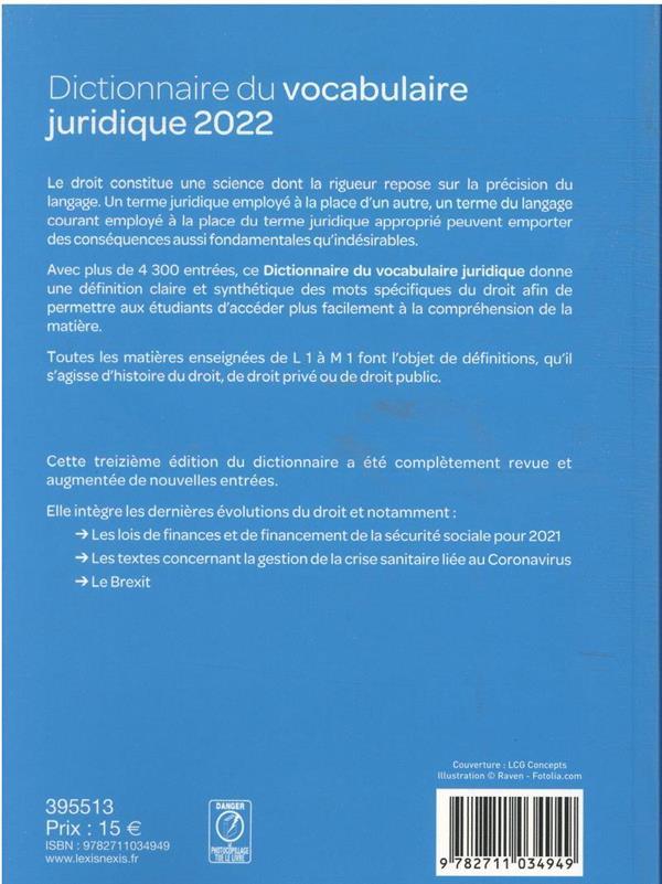 dictionnaire du vocabulaire juridique (édition 2022)