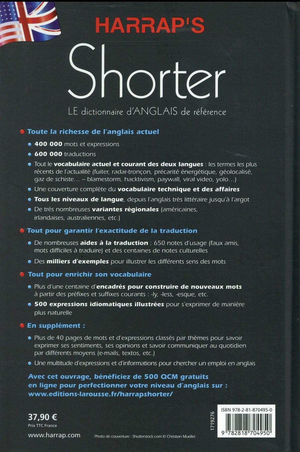 Le dictionnaire d'anglais Harrap's Shorter ; français-anglais / anglais-français (édition 2016)
