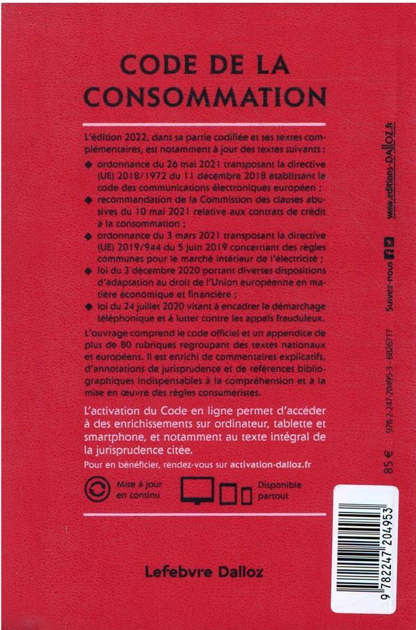 Code de la consommation, annoté et commenté (édition 2022)