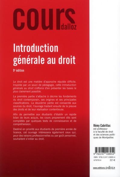 Introduction générale au droit (9e édition)