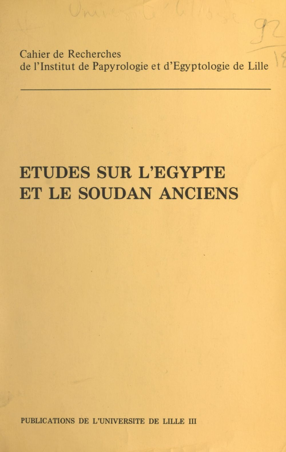Cripel 5 : etudes sur l'egypte et le soudan anciens