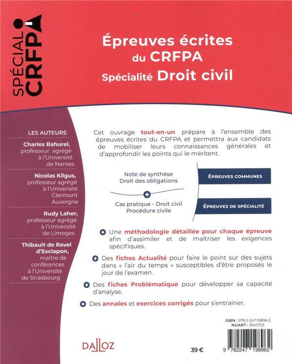 épreuves écrites du CRFPA ; spécialité droit civil