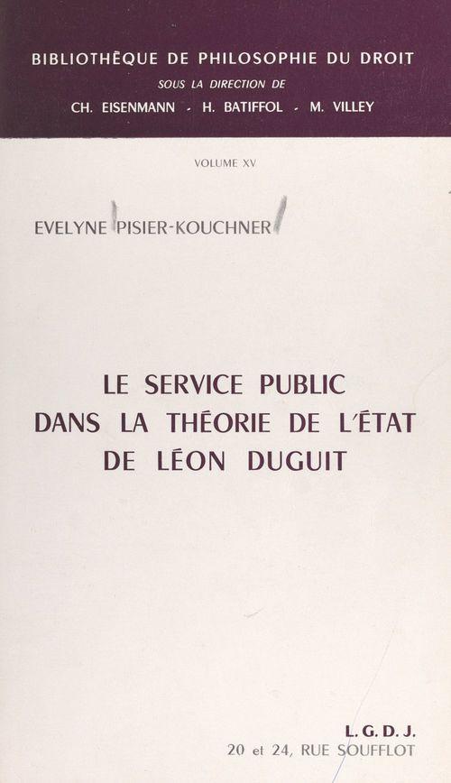 Le service public dans la théorie de l'État de Léon Duguit