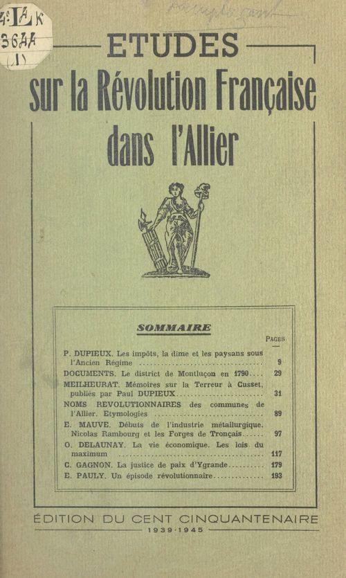 Études sur la Révolution française dans l'Allier