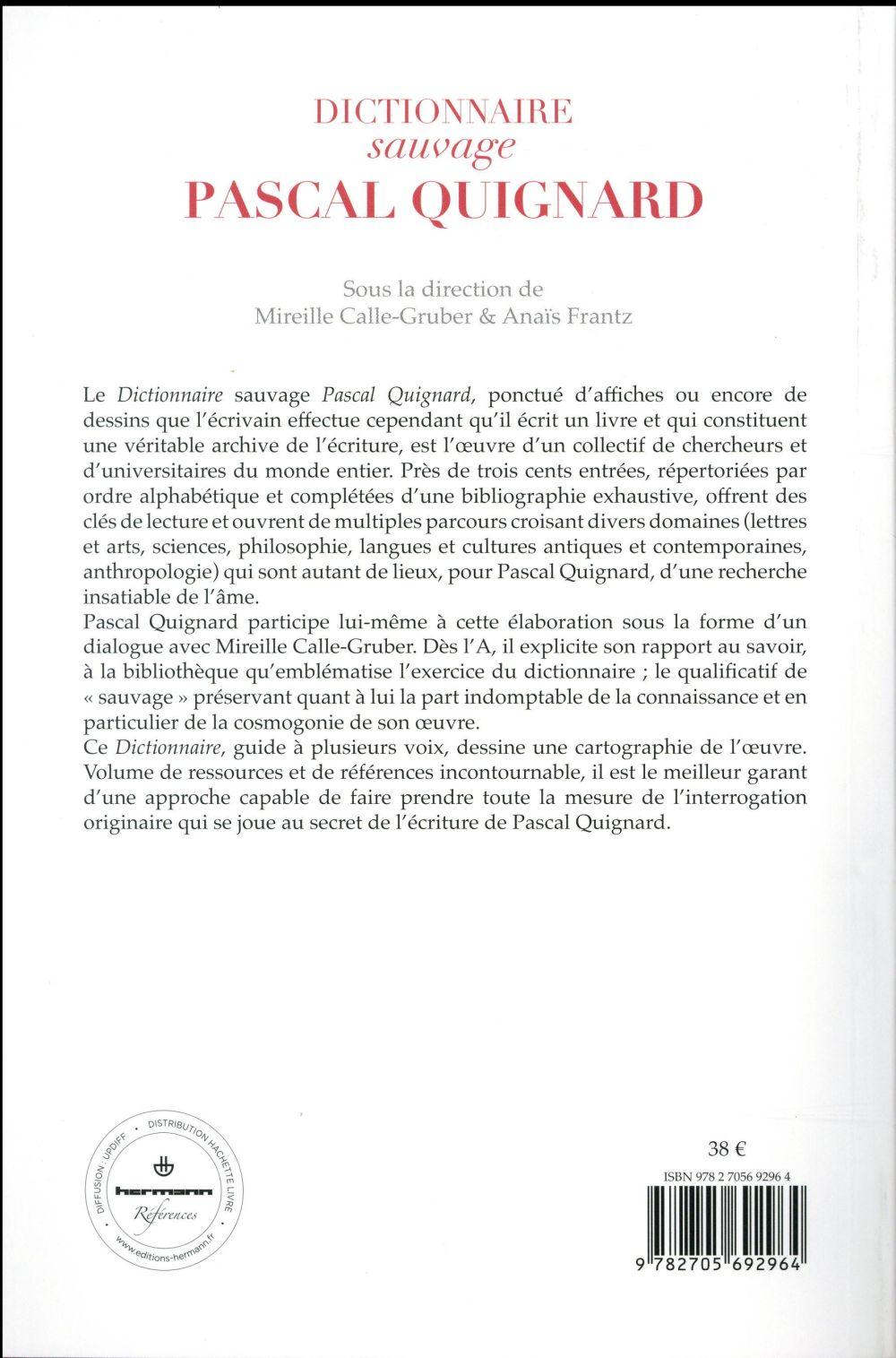 Dictionnaire sauvage Pascal Quignard