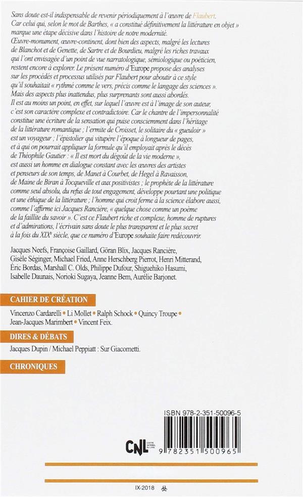 Revue europe n.1073 ; 1074 ; gustave flaubert