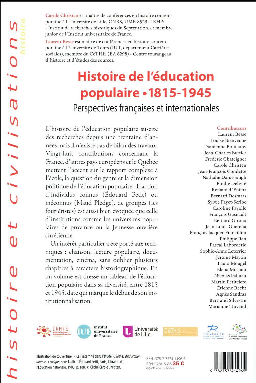 Histoire de l education populaire, 1815-1945 - perspectives francaises et internationales