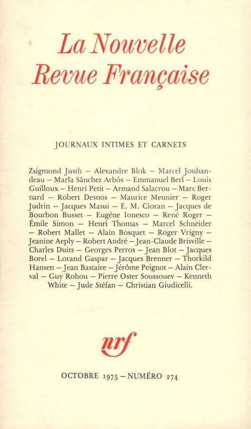 Journaux intimes et Carnets N° 274