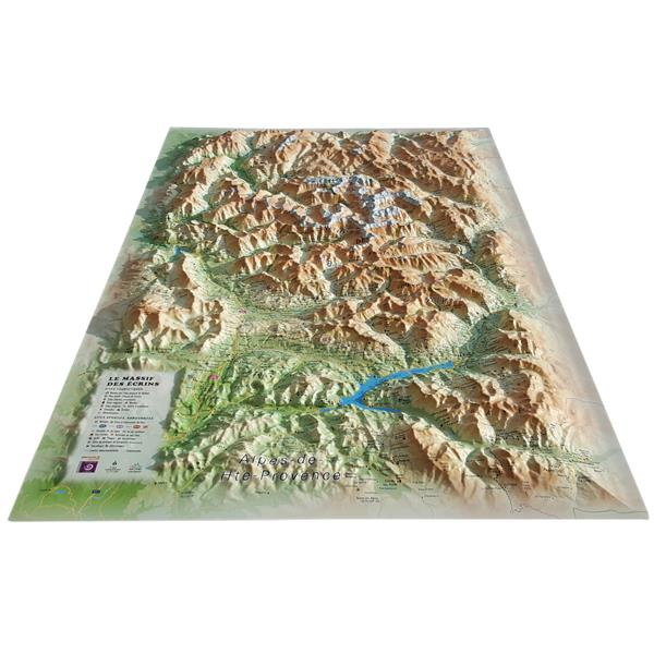 Carte en relief du parc national des Ecrins