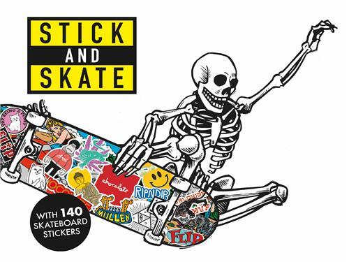Stick and skate skateboard stickers