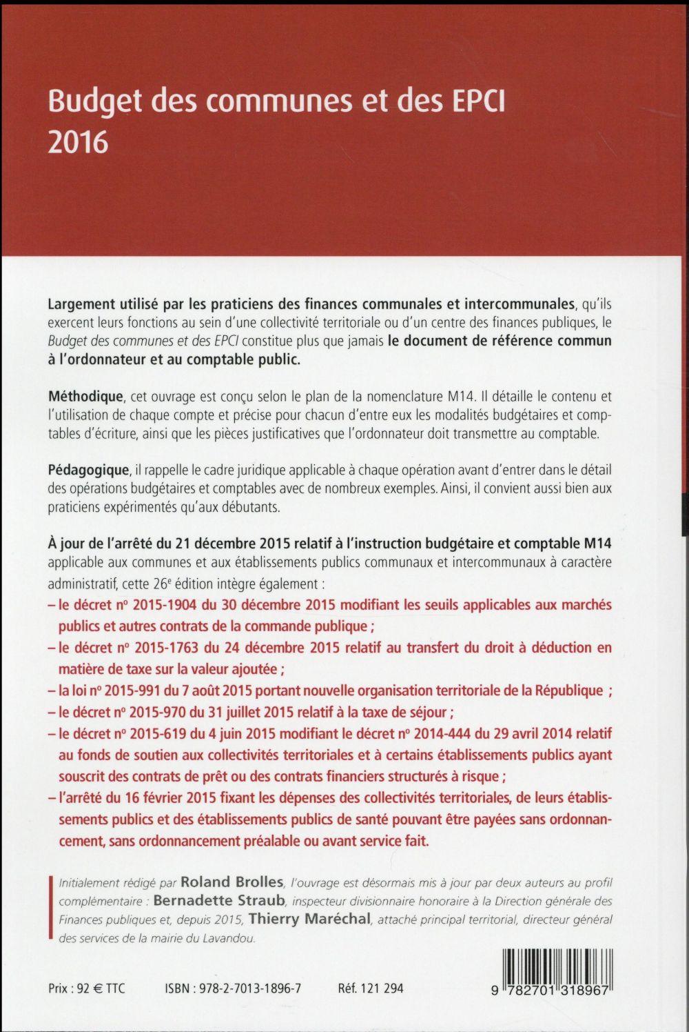 Budget des communes et des EPCI 2016