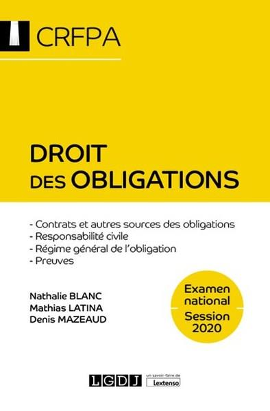 Droit des obligations ; CRFPA : examen national session 2020