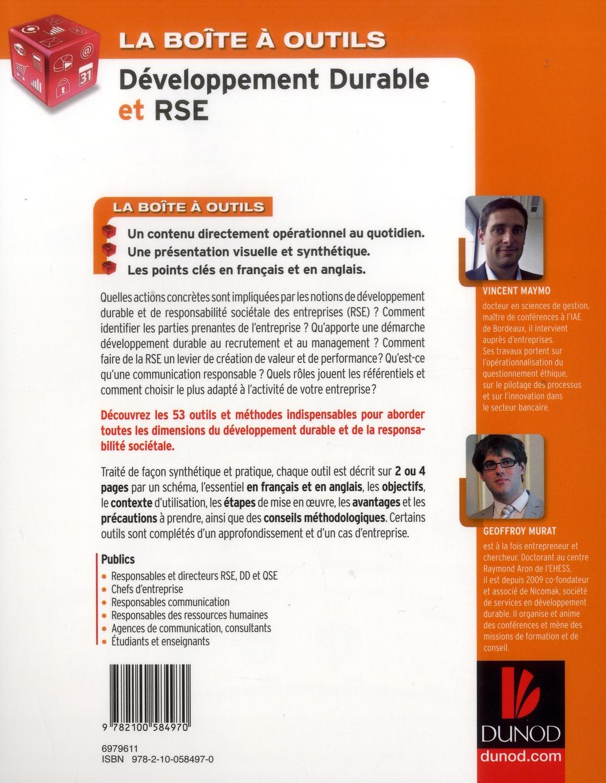 la boîte à outils ; du développement durable et de la RSE