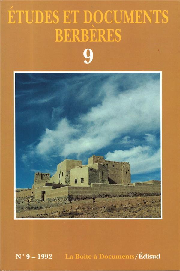 Etudes et documents berberes n.9 (edition 1992)